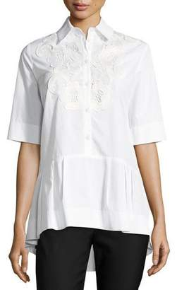 Lela Rose Button-Front Poplin Shirt with Lace