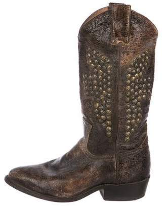 Frye Leather Distressed Ankle Boots