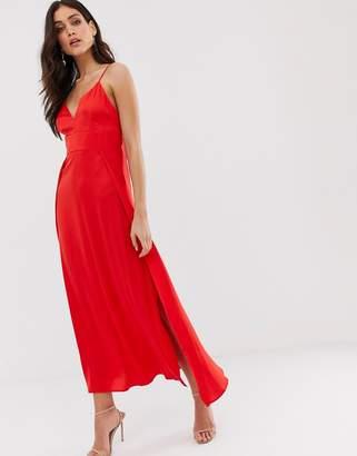 Vila satin cami maxi dress with side splits