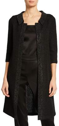 9993f387ccfe St. John Allure Knit 3/4-Sleeve Topper Coat