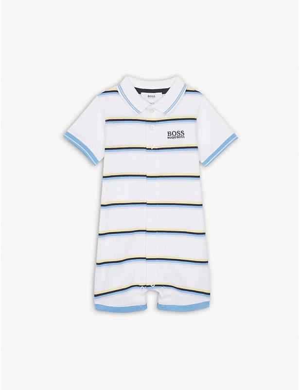 Brand-embroidered logo striped stretch-cotton bodysuit 1-18 months