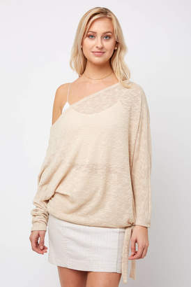 Neely Long Sleeve Cowl Neck Side Tie Pullover