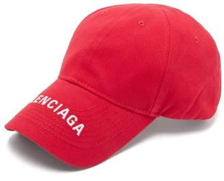Balenciaga Logo Embroidered Cotton Cap - Mens - Red