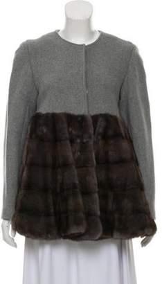 Co Mink-Trimmed Wool Coat grey Mink-Trimmed Wool Coat
