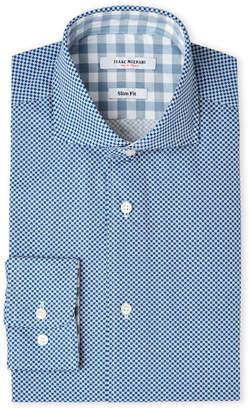 Isaac Mizrahi Navy Square-Print Slim Fit Dress Shirt