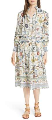 Tory Burch Waverly Floral Print Silk Midi Dress