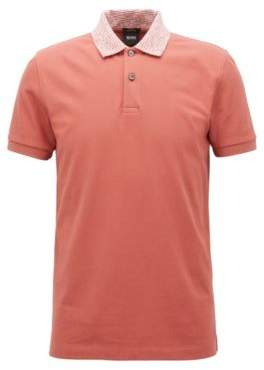 BOSS Hugo Slim-fit polo shirt two-tone collar S Open Red