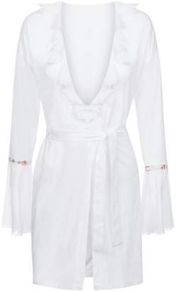 La Perla Opal Blooms Off-White Modal Short Robe With Silk Cotton Voile And Embroidered Tulle