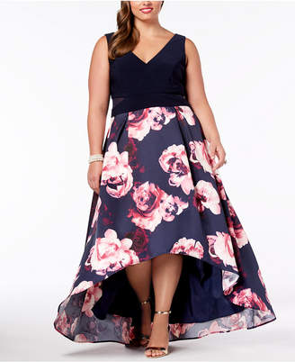 b1aab117082 ... Xscape Evenings Plus Size Solid   Floral-Print High-Low Gown
