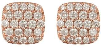 Ron Hami 14K Rose Gold Pave Diamond Square Stud Earrings - 0.50 ctw
