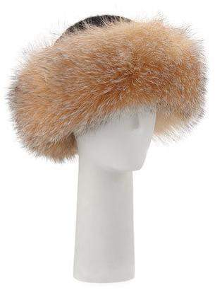 Surell Accessories Knit Hat w/ Fox Fur Cuff