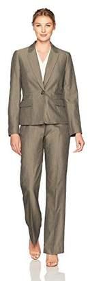 Le Suit Women's Stripe 1 Button Notch Lapel Pant Suit