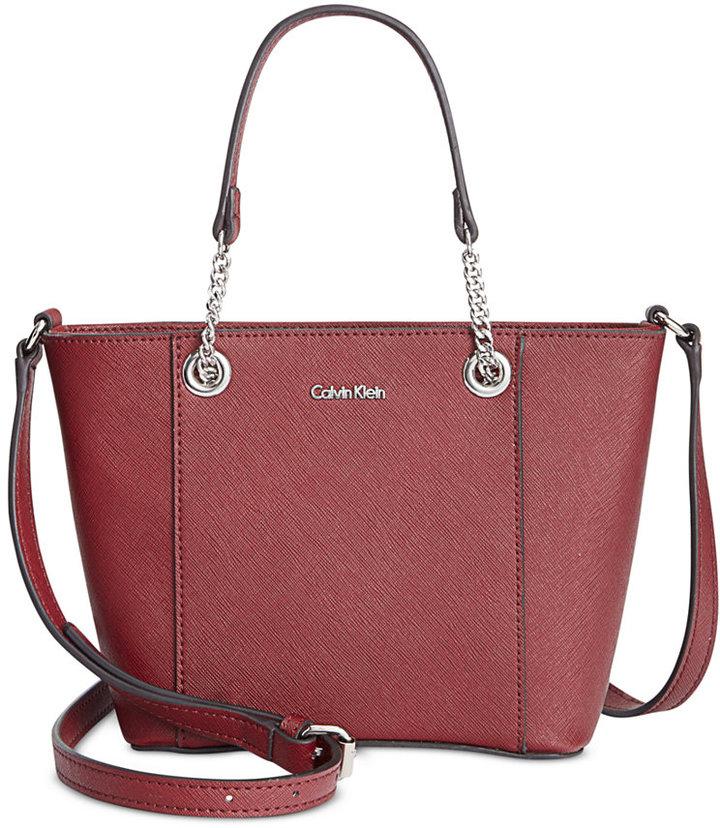 Calvin KleinCalvin Klein Saffiano Leather Satchel Mini Bag