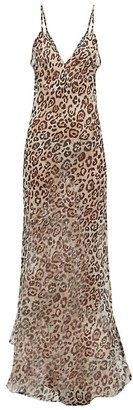 Raey Dip Hem Leopard Print Sheer Silk Slip Dress - Womens - Brown Multi