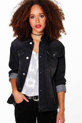 boohoo Borg Collar Trucker Denim Jacket