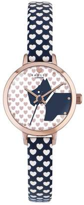 Radley Love Rose Gold Case With Summer Fig Heart Print Leather Strap Watch