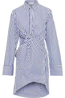 Marques Almeida Marques' Almeida Twist-front Cutout Striped Cotton-poplin Mini Shirt Dress