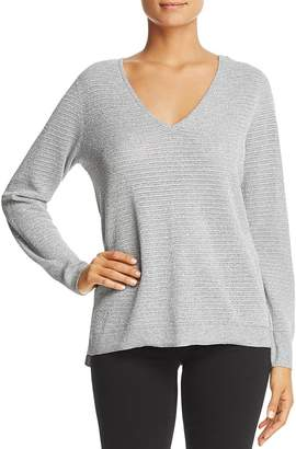 NYDJ Metallic Double V-Neck Sweater