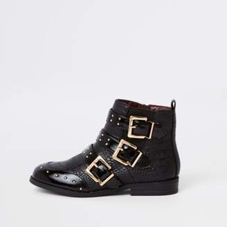 River Island Girls black stud buckle ankle boots
