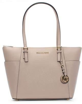Michael Kors Jet Set Pocket Soft Pink Leather Top Zip Tote Bag