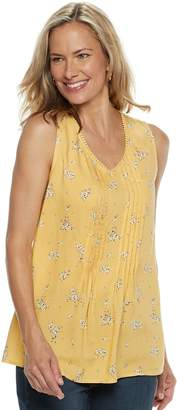 Croft & Barrow Women's Print Pintuck Tank