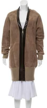 Derek Lam Leather-Trimmed Shearling Coat