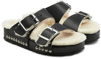 Alexander McQueen Leather Sandals with Shearling Insole
