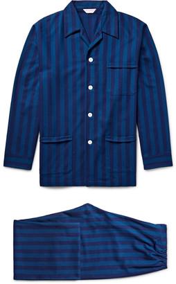 Derek Rose Arctic Striped Cotton-Flannel Pyjama Set $285 thestylecure.com