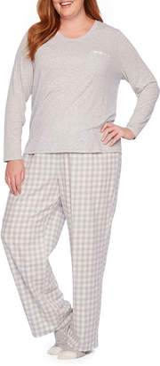 Liz Claiborne 3 Piece Flannel Pant Pajama Set With Socks-Plus