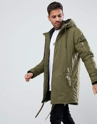 Bershka Hooded Parka In Khaki