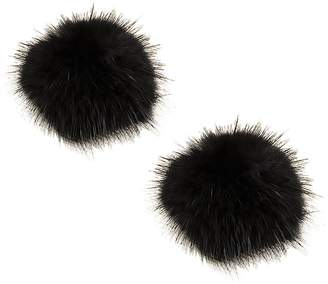 L'vow Women' Fluffy Mink Fur Pom Removable Shoe Clips Clutch Wedding Decoration Pack of 2