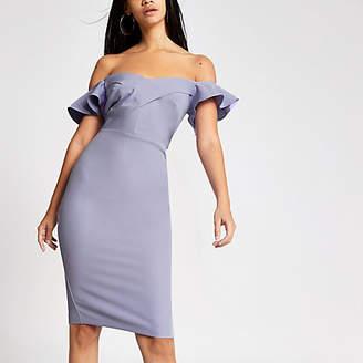 River Island Purple bardot bodycon dress