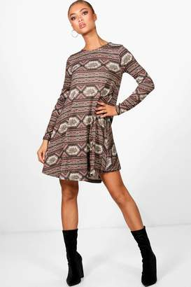 boohoo Aztec Brushed Knitted Swing Dress