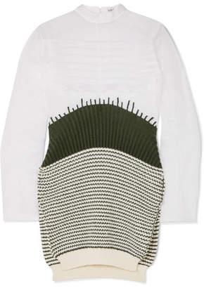 Loewe Cotton-organza And Striped Wool Sweater - White