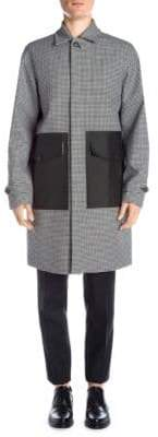 DSQUARED2 Men's Houndstooth Trench Coat - Black White - Size 48 (38)