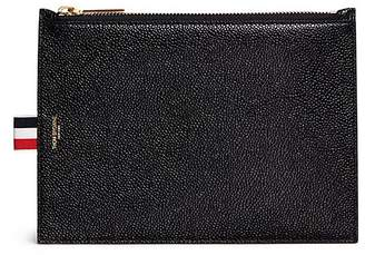 Thom Browne Large pebble grain leather zip coin pouch