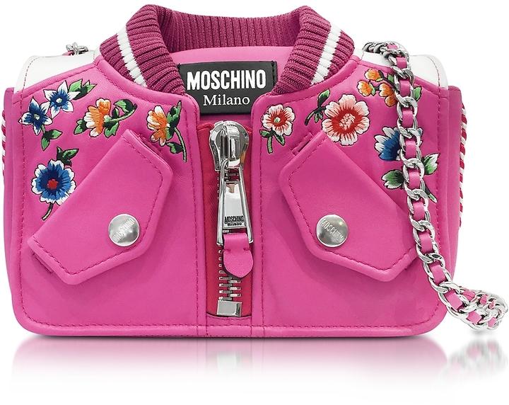 MoschinoMoschino Fuchsia & White Leather Jacket Shoulder Bag