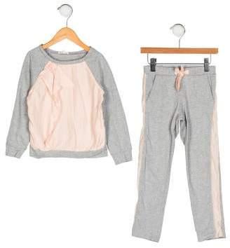 Chloé Girls' Silk-Blend-Trimmed Pants Set