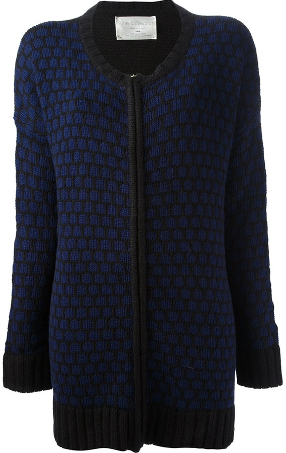 Fine Collection long-length wool blend cardigan