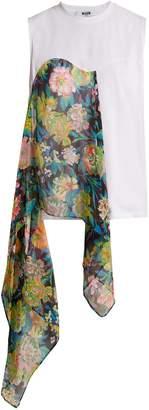 MSGM Floral-print asymmetric-draped top