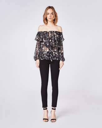 Nicole Miller Midnight Sky Off The Shoulder Ruffle Blouse