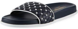 Valentino Rockstud Quilted Pool Slide Sandal