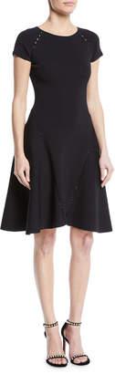Zac Posen Ribbed Short-Sleeve Fit-&-Flare Dress