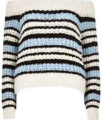 River Island Petite blue knit stripe bardot sweater