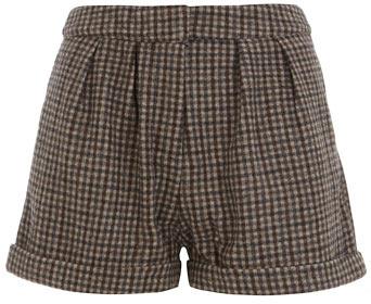 Brown check high waist shorts