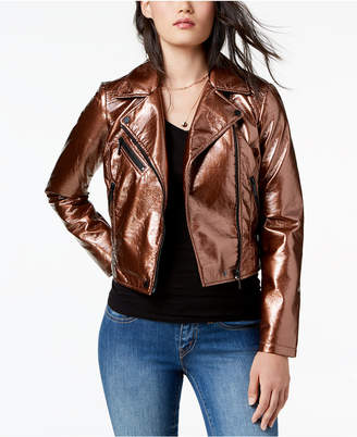 Moto Collection B Juniors' Cropped Faux-Leather Jacket