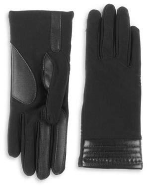 Isotoner Faux-Leather Trim Touchscreen Gloves