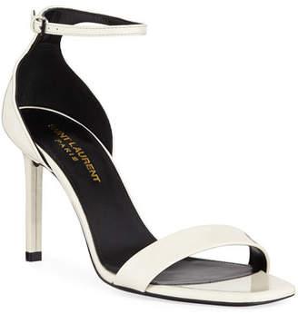Saint Laurent Amber Patent Ankle-Wrap Sandals