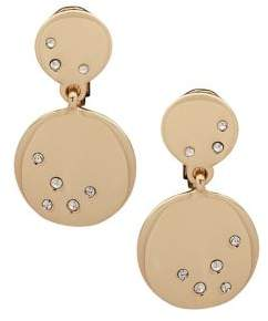 AK Anne Klein Goldtone and Glass Stone Double Drop Earrings