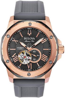 Bulova Men Automatic Marine Star Gray Silicone Strap Watch 45mm